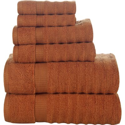 Tracton Ribbed 6 Piece Towel Set Color: Rust