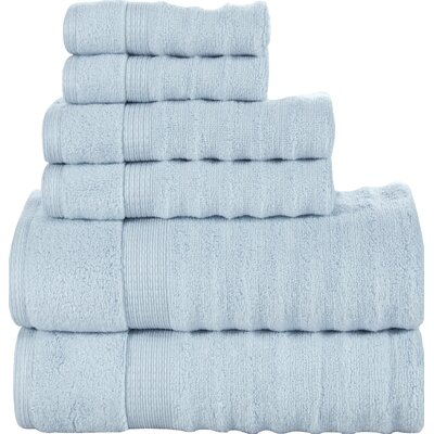 Ribbed 6 Piece Towel Set Color: Spa Blue