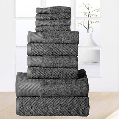 Woolf 10 Piece Towel Set Color: Grey