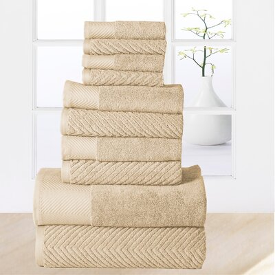 Woolf 10 Piece Towel Set Color: Beige