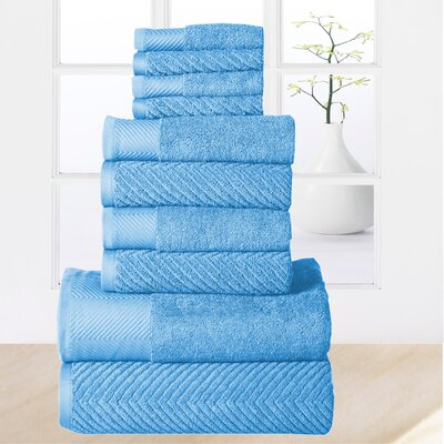 Woolf 10 Piece Towel Set Color: Sea Blue