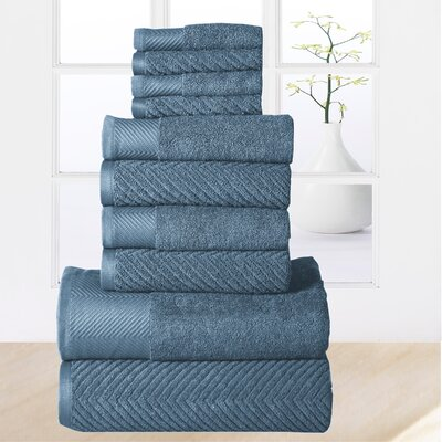 Elegance Spa 10 Piece Towel Set Color: Blue Stone