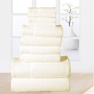Woolf 10 Piece Towel Set Color: Ivory