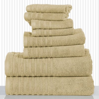 600 GSM Egyptian Quality Cotton 8 Piece Towel Set Color: Taupe