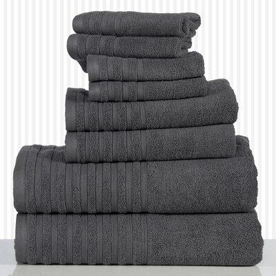600 GSM Egyptian Quality Cotton 8 Piece Towel Set Color: Gray
