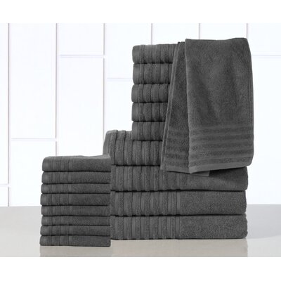 GSM Egyptian Quality Cotton 18 Piece Towel Set Color: Gray