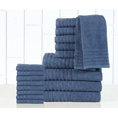 GSM Egyptian Quality Cotton 18 Piece Towel Set Color: Bluestone