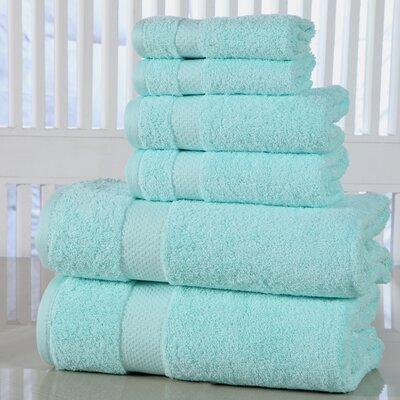 Luxurious 6 Piece Towel Set Color: Aqua