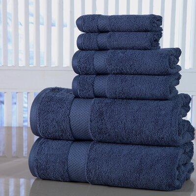 Luxurious Cotton 600 GSM 6 Piece Towel Set Color: Blue Stone