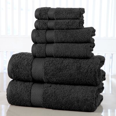 Luxurious Cotton 600 GSM 6 Piece Towel Set Color: Charcoal