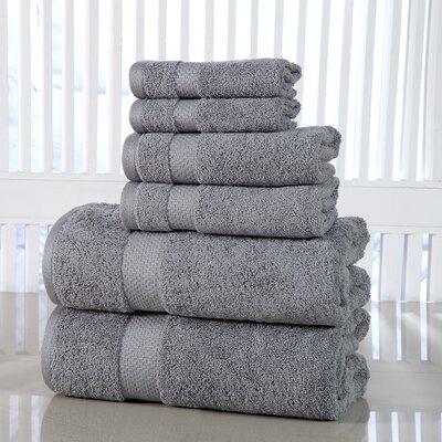 Luxurious 6 Piece Towel Set Color: Silver Gray