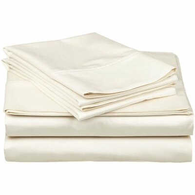 300 Thread Count 100% Cotton Sheet Set Color: Ivory, Size: Queen