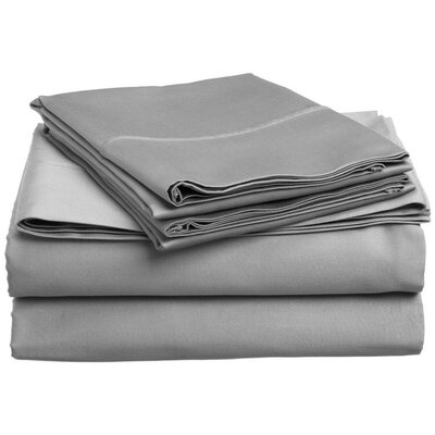 300 Thread Count 100% Cotton Sheet Set Color: Silver Gray, Size: King