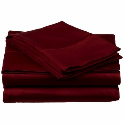 300 Thread Count 100% Cotton Sheet Set Color: Merlot, Size: Twin