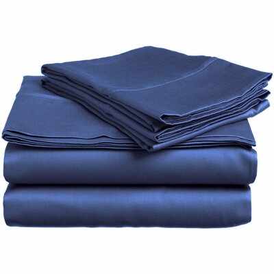 300 Thread Count 100% Cotton Sheet Set Color: Denim, Size: Twin