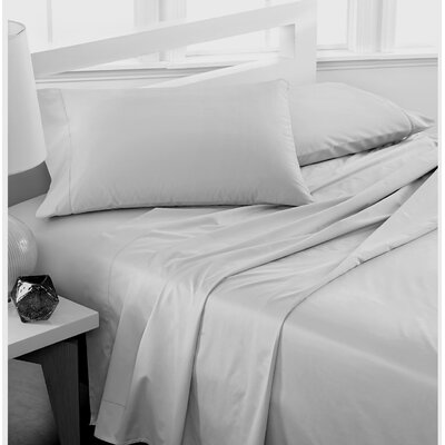 600 Thread Count 100% Cotton Deep Pocket Sheet Set Color: Silver Gray, Size: Queen