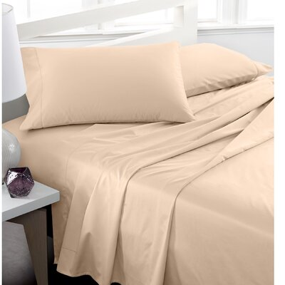 600 Thread Count 100% Cotton Deep Pocket Sheet Set Color: Beige, Size: Queen