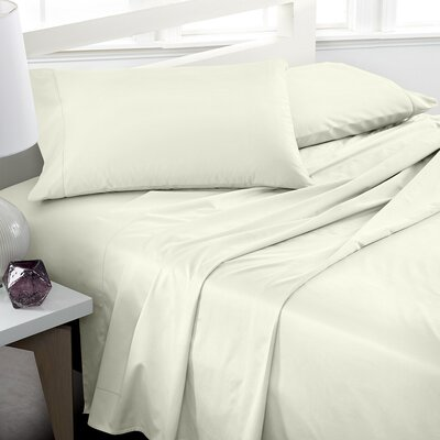 600 Thread Count 100% Cotton Deep Pocket Sheet Set Color: Ivory, Size: California King
