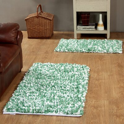 2 Piece Hand Woven Paper Shag Area Rug Set