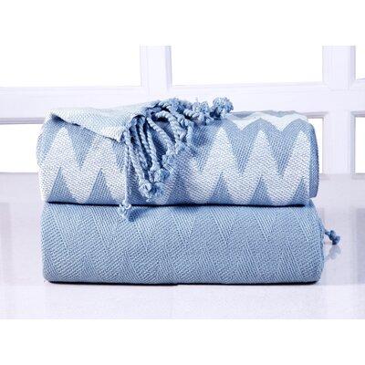 Chevron Cotton Throw Blanket Color: Blue