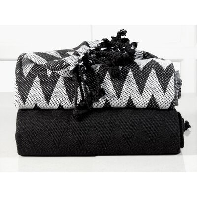 Chevron Cotton Throw Blanket Color: Black