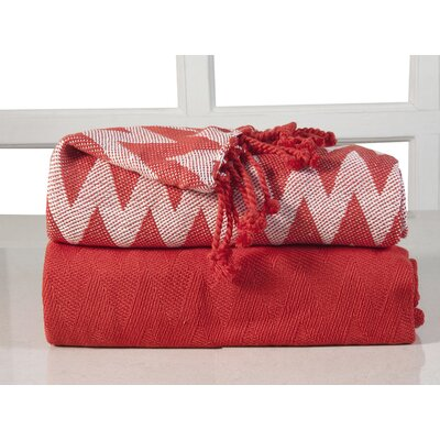 Chevron Cotton Throw Blanket Color: Red