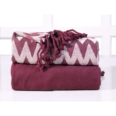 Chevron Cotton Throw Blanket Color: Red Plum