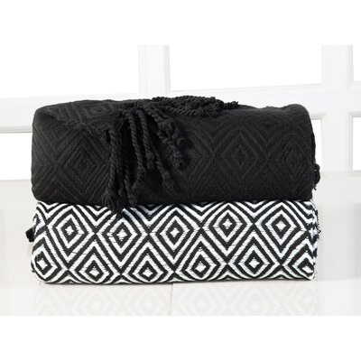 Elegancia Diamond Weave Cotton Throw Blanket Color: Black
