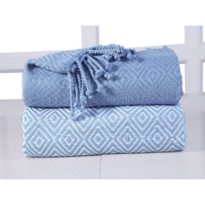 Elegancia Diamond Weave Cotton Throw Blanket Color: Blue