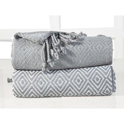 Elegancia Diamond Weave Cotton Throw Blanket Color: Dove Grey