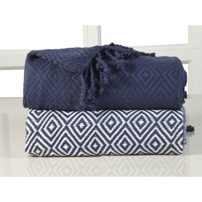 Elegancia Diamond Weave Cotton Throw Blanket Color: Indigo