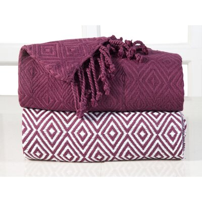 Elegancia Diamond Weave Cotton Throw Blanket Color: Red Plum