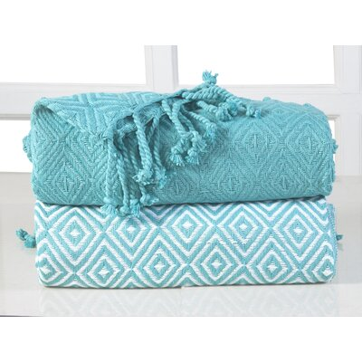 Elegancia Diamond Weave Cotton Throw Blanket Color: Turquoise