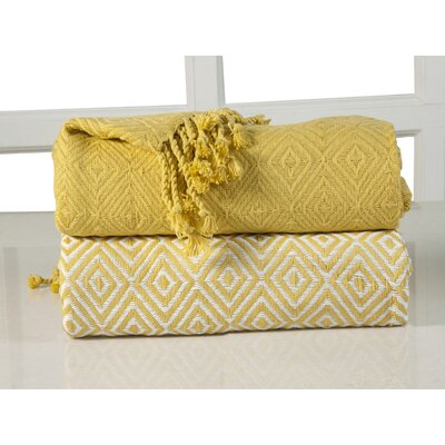 Elegancia Diamond Weave Cotton Throw Blanket Color: Yellow