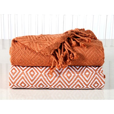 Elegancia Diamond Weave Cotton Throw Blanket Color: Copper