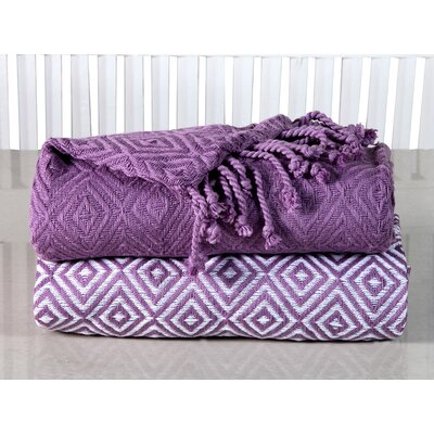 Elegancia Diamond Weave Cotton Throw Blanket Color: Lilac