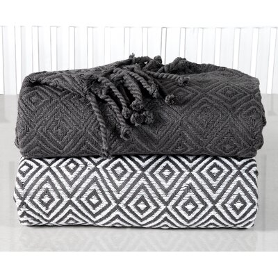 Elegancia Diamond Weave Cotton Throw Blanket Color: Platinum