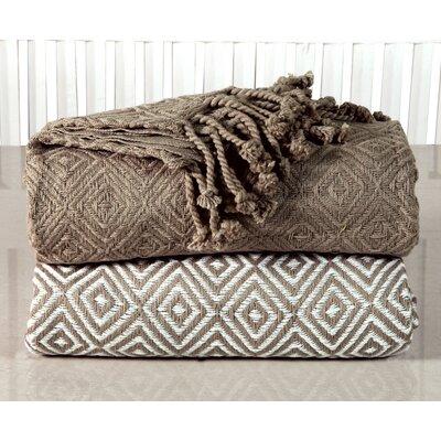 Elegancia Diamond Weave Cotton Throw Blanket Color: Taupe