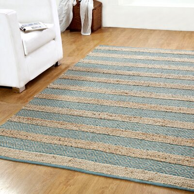 Hand-Woven Natural/Blue Area Rug Rug Size: 5 x 8