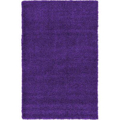 Hand-Woven Purple Area Rug Rug Size: 4 x 6