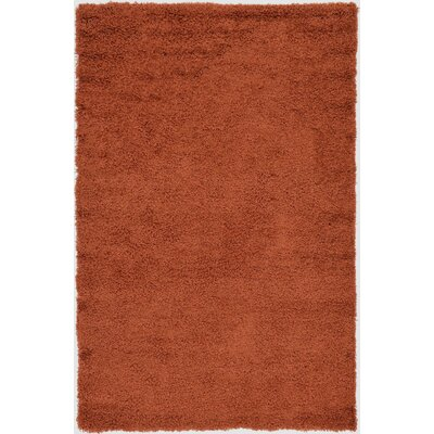 Hand-Woven Rust Orange Area Rug Rug Size: 3 x 5