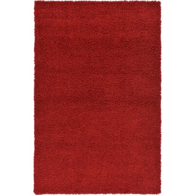 Hand-Woven Red Area Rug Rug Size: 8 x 10