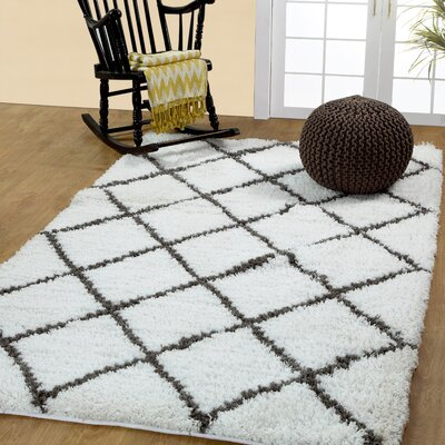 Hand-Woven White/Grey Area Rug Rug Size: 5 x 8