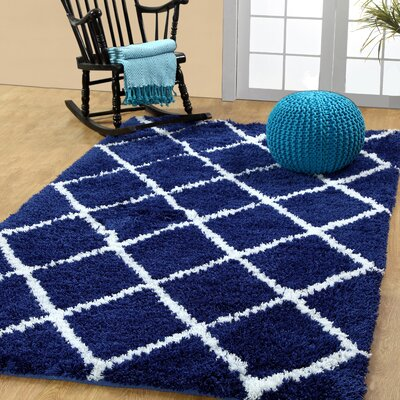 Hand-Woven Navy Area Rug Rug Size: 5 x 8