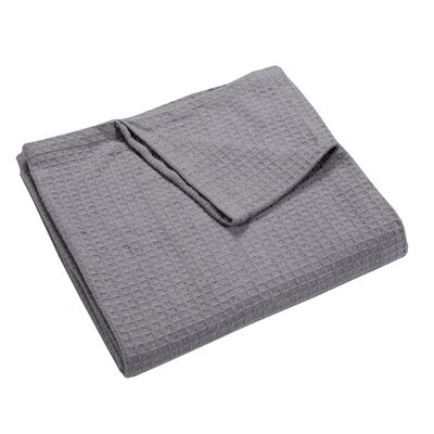 Zaida Woven Cotton Throw Blanket Color: Silver Grey, Size: Queen