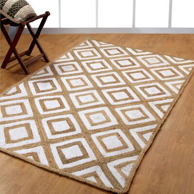 Hand-Woven White Area Rug Rug Size: 6 x 9