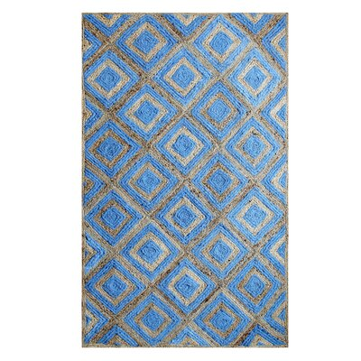 Hand-Woven Cotton Blue Area Rug Rug Size: 5 x 8