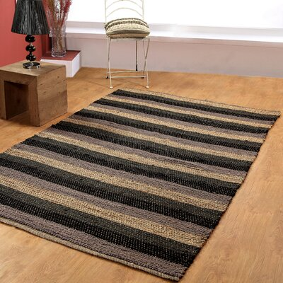 Hand-Woven Black/Gray Area Rug Rug Size: 6 x 9