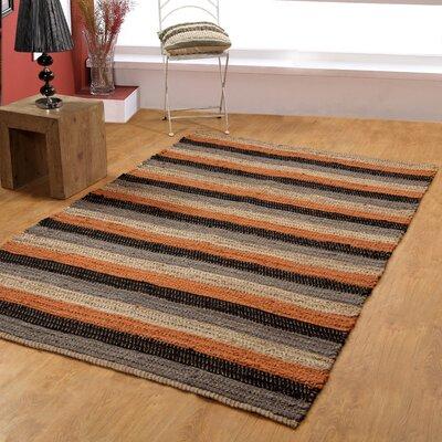 Hand-Woven Black/Rust Area Rug Rug Size: 5 x 8