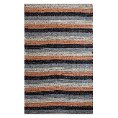 Hand-Woven Black/Rust Area Rug Rug Size: 5 x 8